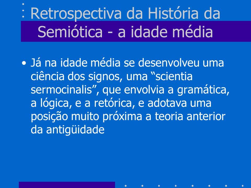 Retrospectiva da História da Semiótica - a idade média Já na idade média se desenvolveu uma ciência dos signos, uma scientia sermocinalis, que envolvi