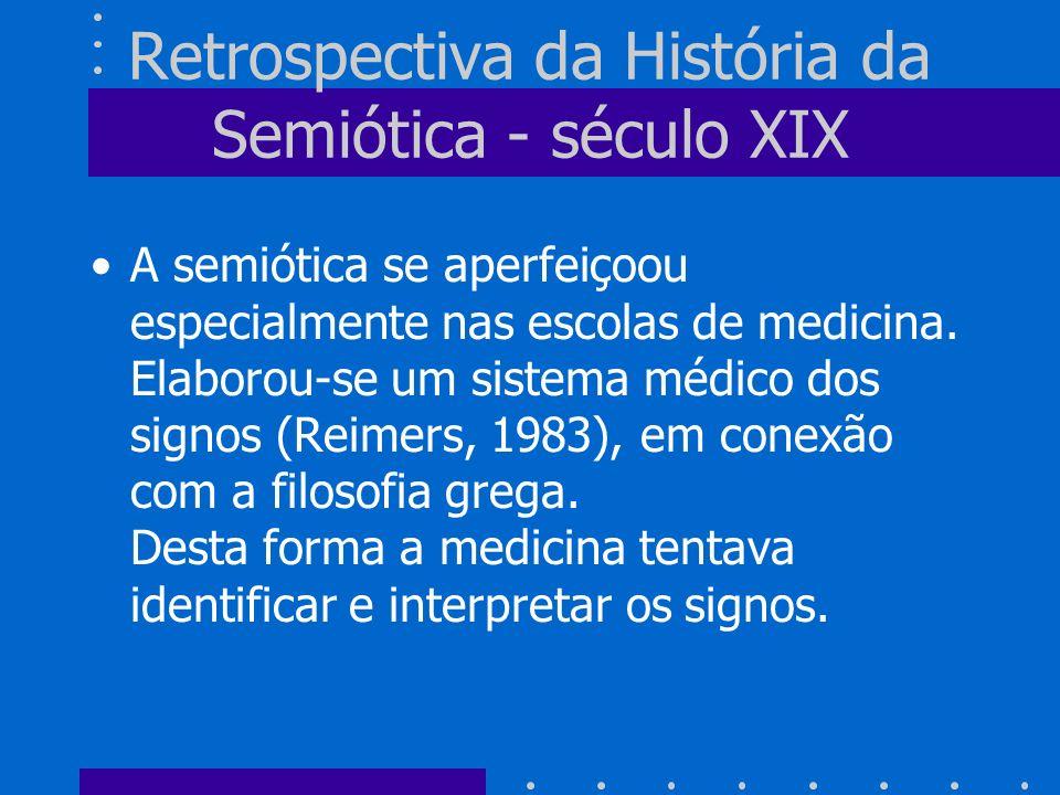 Retrospectiva da História da Semiótica - século XIX A semiótica se aperfeiçoou especialmente nas escolas de medicina. Elaborou-se um sistema médico do