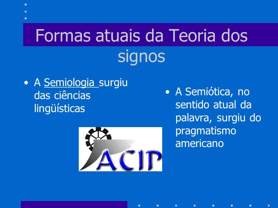 Formas atuais da Teoria dos signos A Semiologia surgiu das ciências lingüísticas A Semiótica, no sentido atual da palavra, surgiu do pragmatismo ameri