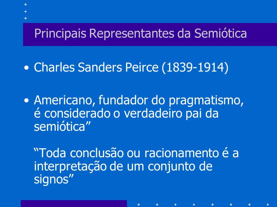 Principais Representantes da Semiótica Charles Sanders Peirce (1839-1914) Americano, fundador do pragmatismo, é considerado o verdadeiro pai da semiót