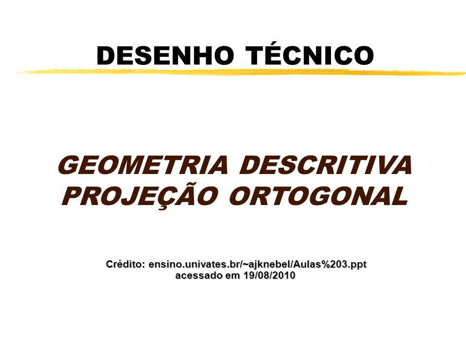 VISTAS PRINCIPAIS zProjeção ortográfica yA representação no primeiro diedro é dada pela projeção das vistas no plano vertical e horizontal.