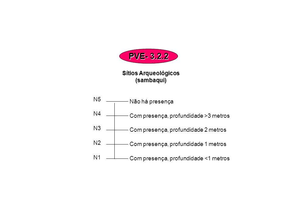 Sítios Arqueológicos (sambaqui) N5 N4 N3 N2 N1 Com presença, profundidade >3 metros Com presença, profundidade 2 metros Com presença, profundidade 1 m