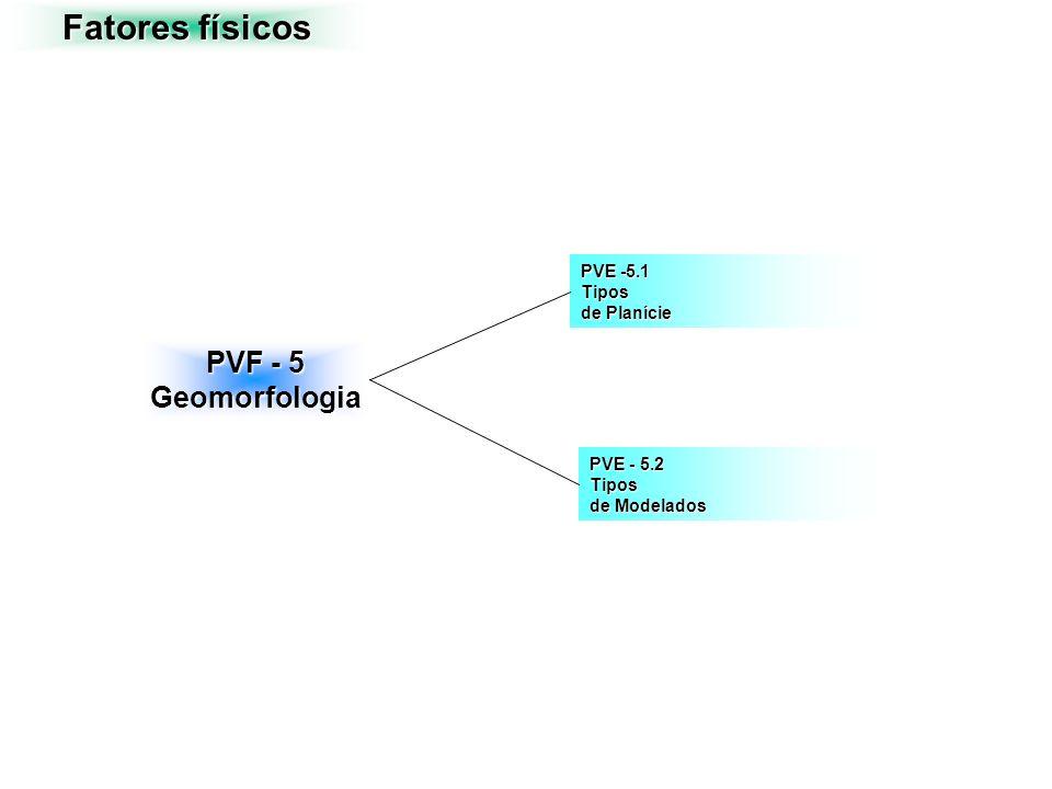 Fatores físicos PVF - 5 Geomorfologia PVE - 5.2 Tipos de Modelados PVE -5.1 Tipos de Planície
