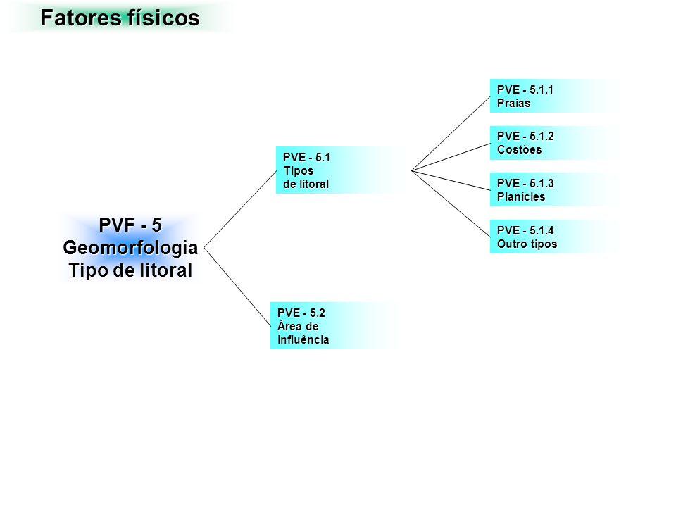 Fatores físicos PVF - 5 Geomorfologia Tipo de litoral PVE - 5.1 Tipos de litoral PVE - 5.2 Área de influência PVE - 5.1.1 Praias PVE - 5.1.2 Costões P