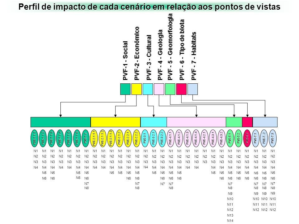 Perfil de impacto de cada cenário em relação aos pontos de vistas PVE-1.1.1 N1 N2 N3 N4 N1 N2 N3 N4 N6 N5 N1 N2 N3 N4 N6 N5 N1 N2 N3 N4 N1 N2 N3 N4 N1