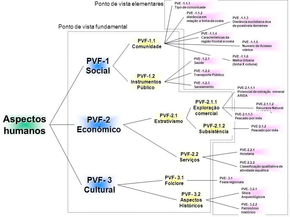 PVF-1.1Comunidade PVE -1.1.1 Tipo de conunicade PVE -1.1.2 distância em relação a linha da costa PVE -1.1.3 Distância euclidiana dos de possíveis derrames PVE -1.1.6 Malha Urbana (linha X coluna) PVE -1.1.5 Numero de Acesso viários PVE -1.1.4 Características da região frontal a costa PVF-1Social Ponto de vista fundamental Ponto de vista elementaresAspectoshumanos PVE -1.2.3 Saneamento PVE -1.2.1 Saúde PVE -1.2.2 Transporte Público PVF-1.2InstrumentosPúblico