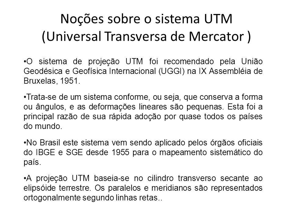 Noções sobre o sistema UTM (Universal Transversa de Mercator ) O sistema de projeção UTM foi recomendado pela União Geodésica e Geofísica Internaciona
