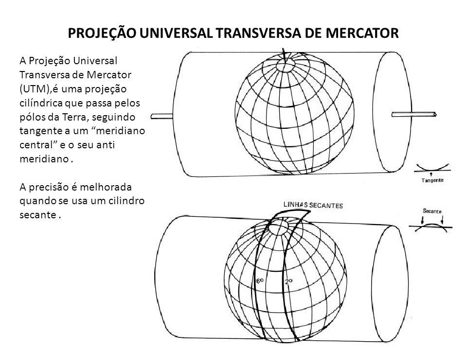 A Projeção Universal Transversa de Mercator (UTM),é uma projeção cilíndrica que passa pelos pólos da Terra, seguindo tangente a um meridiano central e
