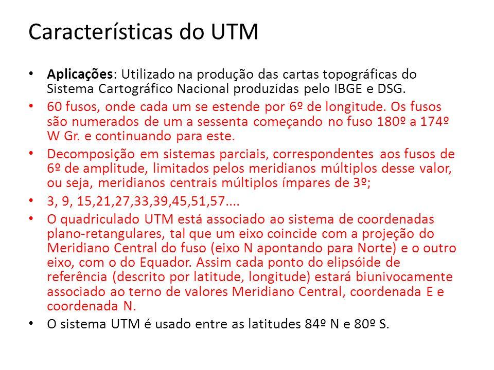 Características do UTM Aplicações: Utilizado na produção das cartas topográficas do Sistema Cartográfico Nacional produzidas pelo IBGE e DSG. 60 fusos
