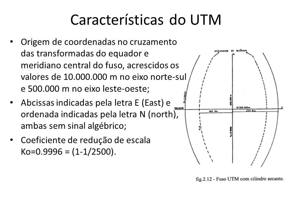 Características do UTM Origem de coordenadas no cruzamento das transformadas do equador e meridiano central do fuso, acrescidos os valores de 10.000.0