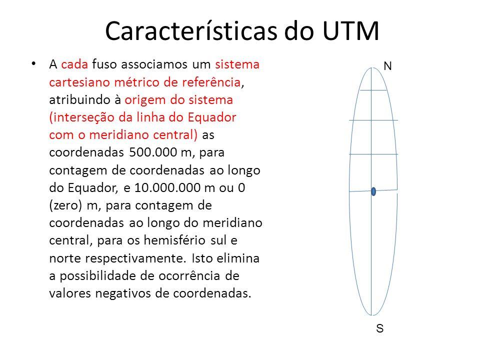 Características do UTM A cada fuso associamos um sistema cartesiano métrico de referência, atribuindo à origem do sistema (interseção da linha do Equa