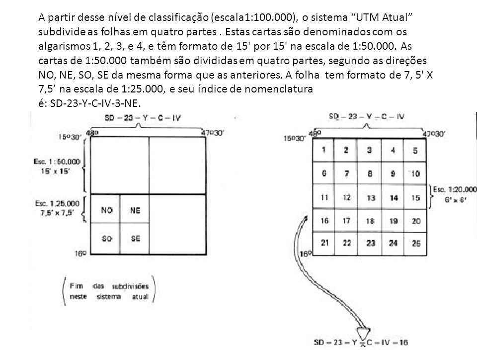 A partir desse nível de classificação (escala1:100.000), o sistema UTM Atual subdivide as folhas em quatro partes. Estas cartas são denominados com os