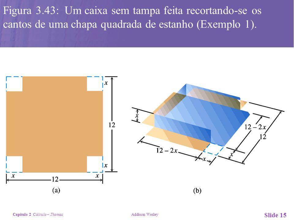 Capítulo 2 Cálculo – Thomas Addison Wesley Slide 15 Figura 3.43: Um caixa sem tampa feita recortando-se os cantos de uma chapa quadrada de estanho (Ex