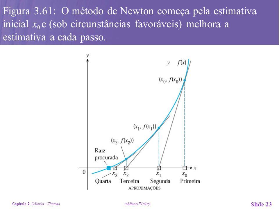 Capítulo 2 Cálculo – Thomas Addison Wesley Slide 23 Figura 3.61: O método de Newton começa pela estimativa inicial x 0 e (sob circunstâncias favorávei