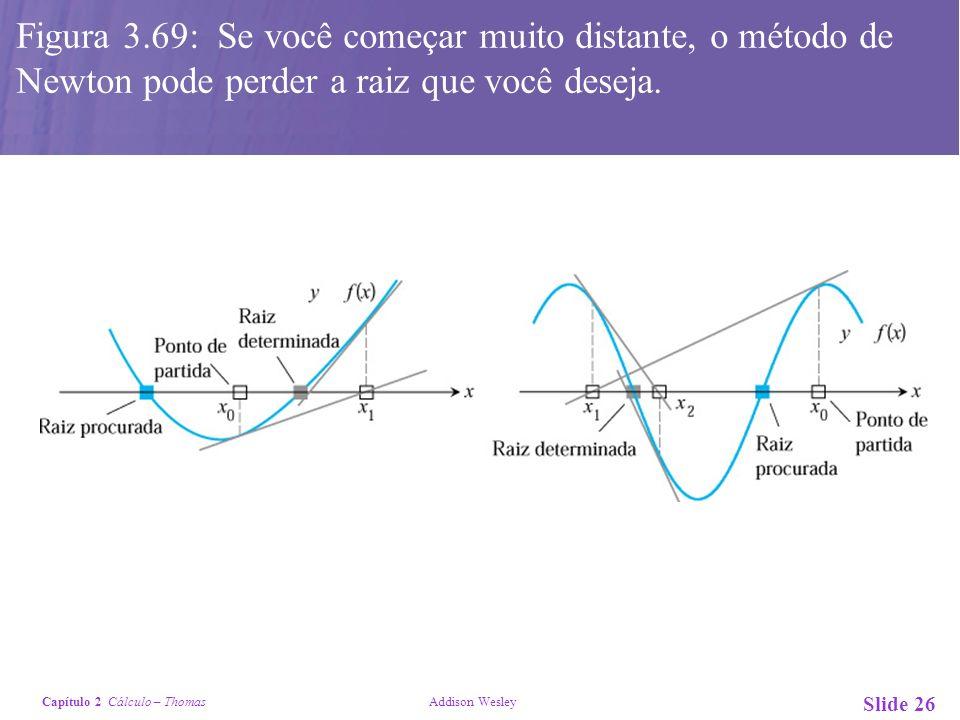Capítulo 2 Cálculo – Thomas Addison Wesley Slide 26 x Figura 3.69: Se você começar muito distante, o método de Newton pode perder a raiz que você dese