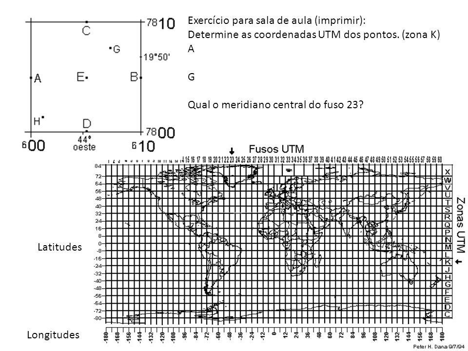 Exercício para sala de aula (imprimir): Determine as coordenadas UTM dos pontos. (zona K) A G Qual o meridiano central do fuso 23? Latitudes Longitude