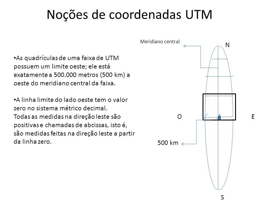 As quadrículas de uma faixa de UTM possuem um limite oeste; ele está exatamente a 500.000 metros (500 km) a oeste do meridiano central da faixa. A lin