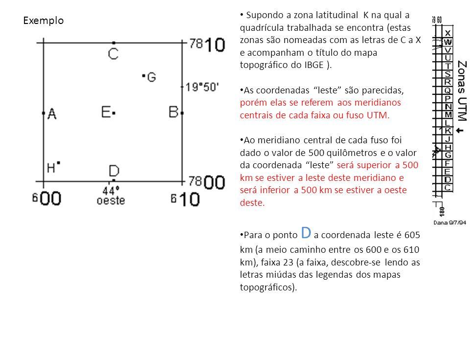As coordenadas UTM completas do ponto D são: 7800 zona K e 605 faixa 23 ou de outra forma X605 Y7800 fuso 23 zona K.