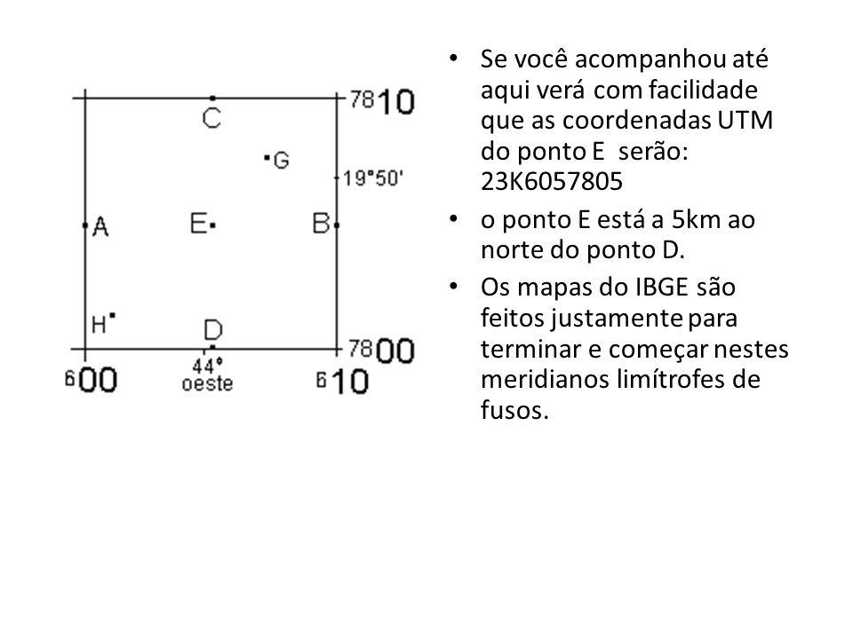 Se você acompanhou até aqui verá com facilidade que as coordenadas UTM do ponto E serão: 23K6057805 o ponto E está a 5km ao norte do ponto D. Os mapas