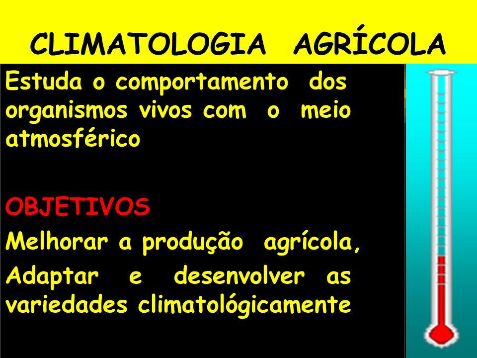 CLIMATOLOGIA AGRÍCOLA Estuda o comportamento dos organismos vivos com o meio atmosférico OBJETIVOS Melhorar a produção agrícola, Adaptar e desenvolver