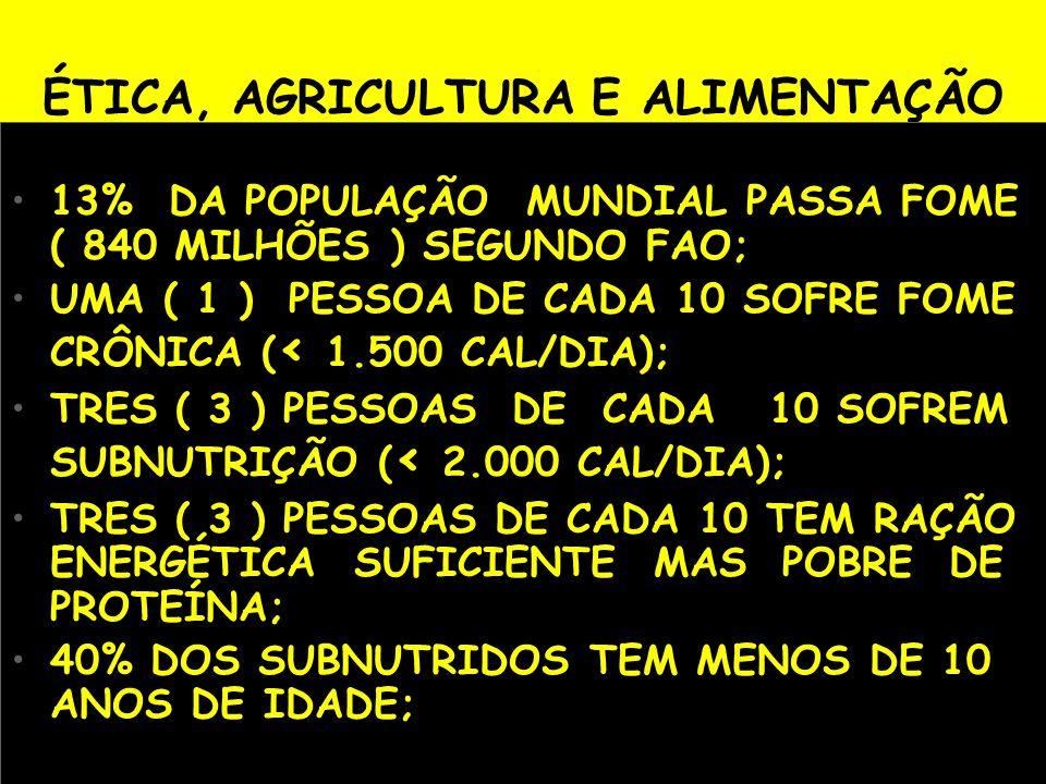 ÉTICA, AGRICULTURA E ALIMENTAÇÃO 13% DA POPULAÇÃO MUNDIAL PASSA FOME ( 840 MILHÕES ) SEGUNDO FAO; UMA ( 1 ) PESSOA DE CADA 10 SOFRE FOME CRÔNICA ( < 1
