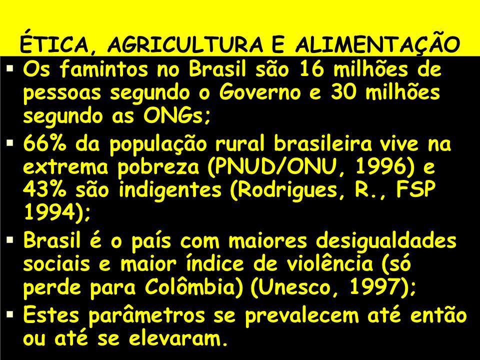 ÉTICA, AGRICULTURA E ALIMENTAÇÃO Os famintos no Brasil são 16 milhões de pessoas segundo o Governo e 30 milhões segundo as ONGs; 66% da população rura