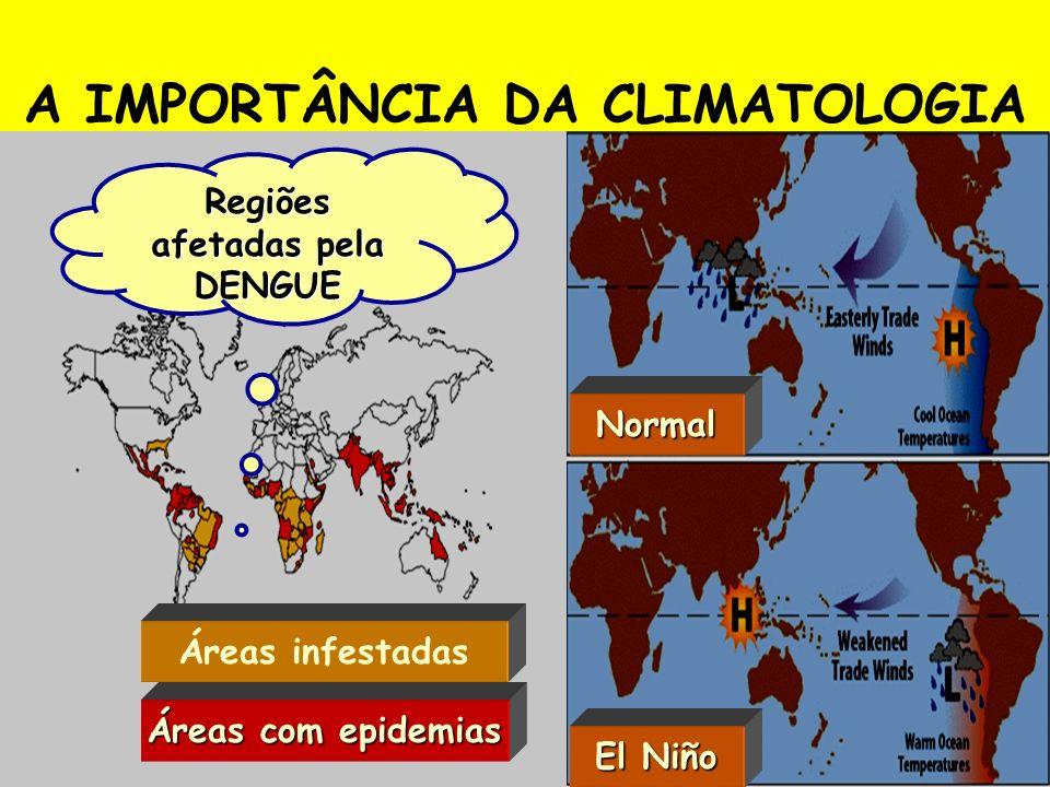 A IMPORTÂNCIA DA CLIMATOLOGIA Regiões afetadas pela DENGUE Áreas infestadas Áreas com epidemias Normal El Niño