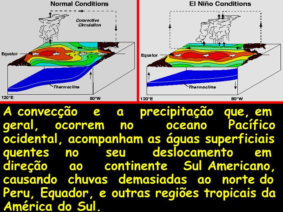 A convecção e a precipitação que, em geral, ocorrem no oceano Pacífico ocidental, acompanham as águas superficiais quentes no seu deslocamento em dire