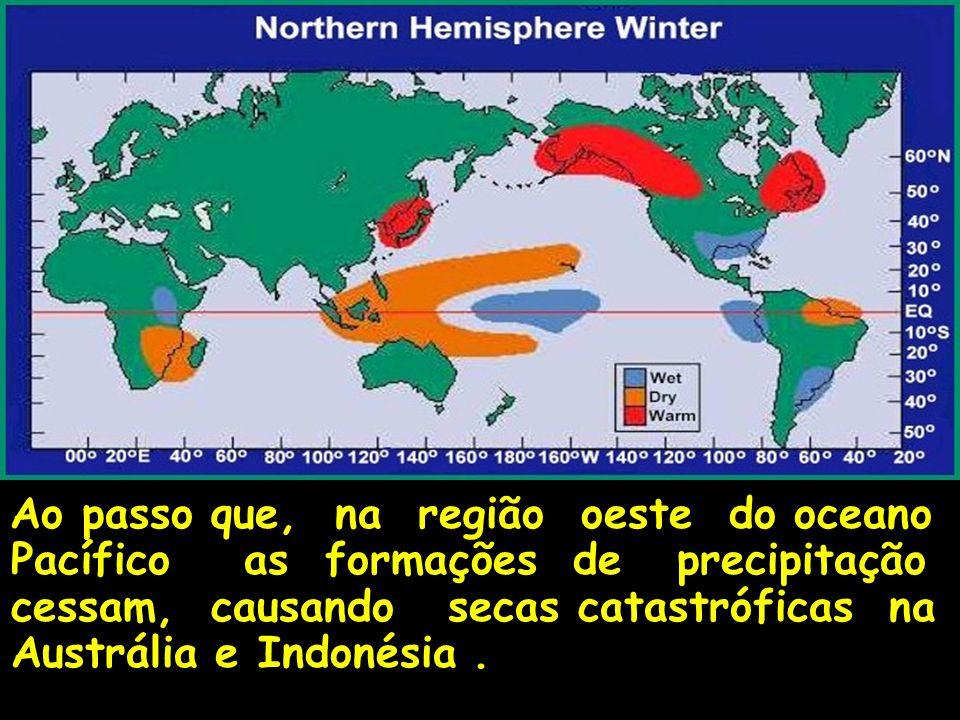 Ao passo que, na região oeste do oceano Pacífico as formações de precipitação cessam, causando secas catastróficas na Austrália e Indonésia.
