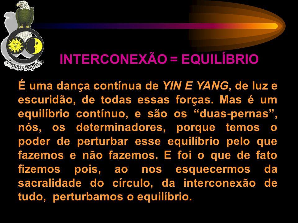 INTERCONEXÃO = EQUILÍBRIO É uma dança contínua de YIN E YANG, de luz e escuridão, de todas essas forças. Mas é um equilíbrio contínuo, e são os duas-p
