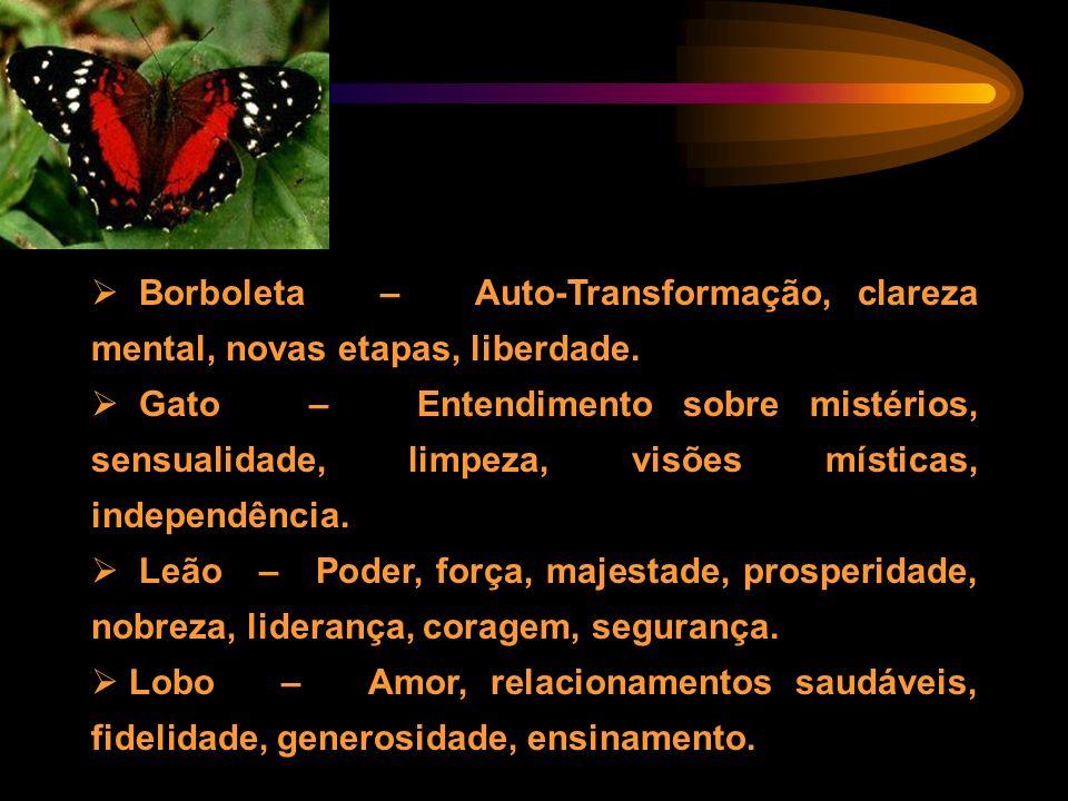 Borboleta – Auto-Transformação, clareza mental, novas etapas, liberdade. Gato – Entendimento sobre mistérios, sensualidade, limpeza, visões místicas,