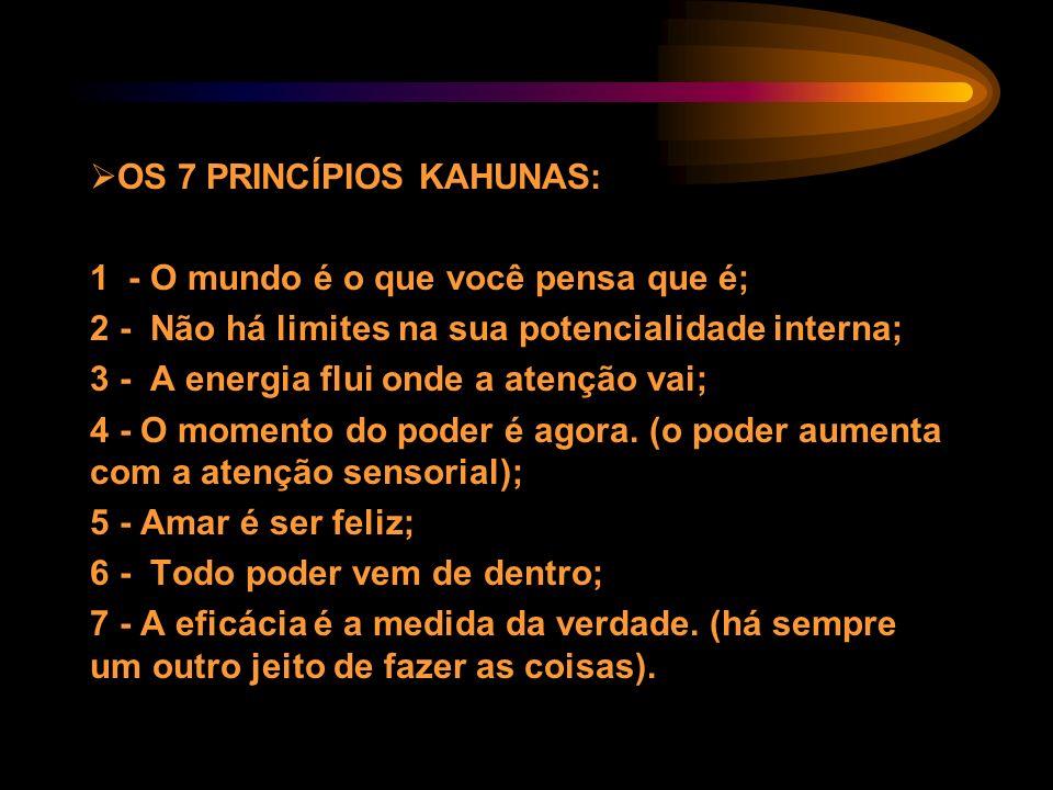 OS 7 PRINCÍPIOS KAHUNAS: 1 - O mundo é o que você pensa que é; 2 - Não há limites na sua potencialidade interna; 3 - A energia flui onde a atenção vai
