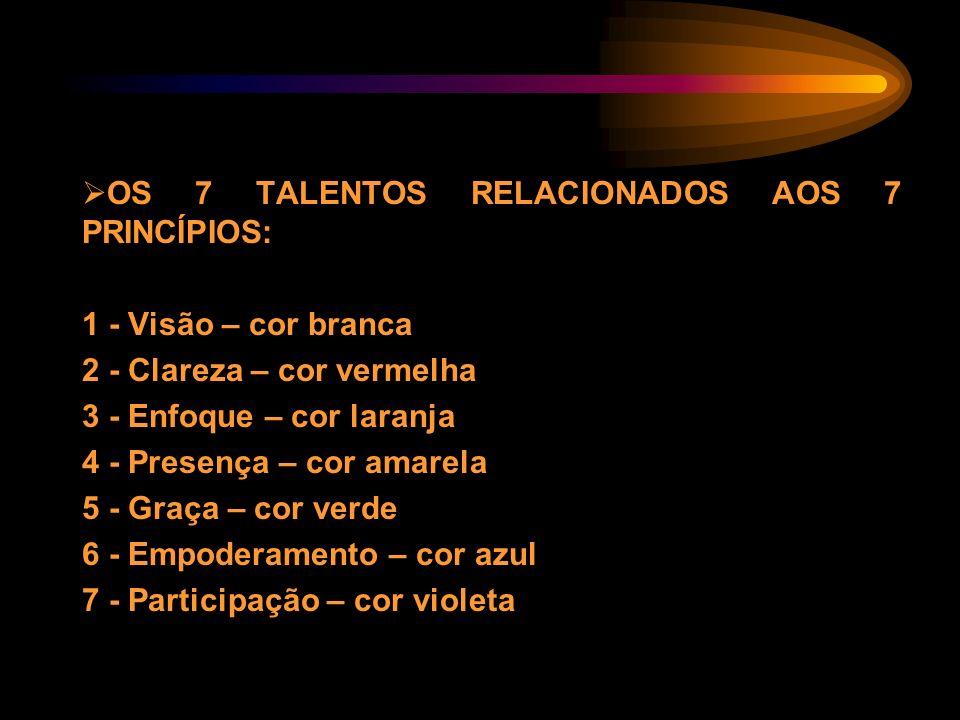 OS 7 TALENTOS RELACIONADOS AOS 7 PRINCÍPIOS: 1 - Visão – cor branca 2 - Clareza – cor vermelha 3 - Enfoque – cor laranja 4 - Presença – cor amarela 5