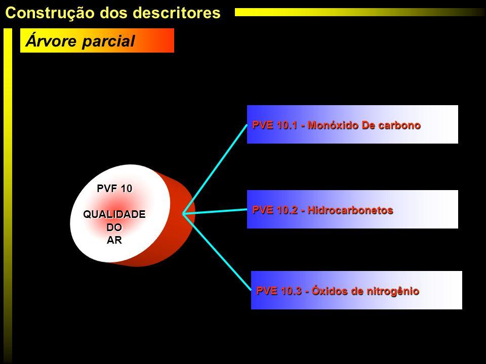 PVF 10 QUALIDADE DO DOAR PVE 10.1 - Monóxido De carbono PVE 10.2 - Hidrocarbonetos PVE 10.3 - Óxidos de nitrogênio Árvore parcial Construção dos descr