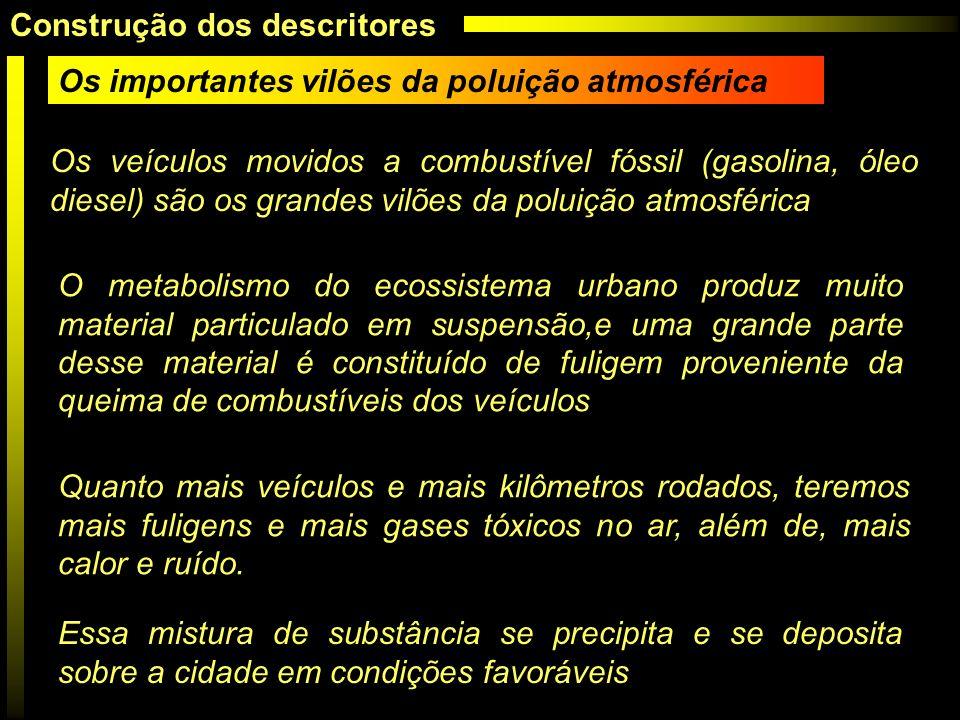 Os importantes vilões da poluição atmosférica Os veículos movidos a combustível fóssil (gasolina, óleo diesel) são os grandes vilões da poluição atmos