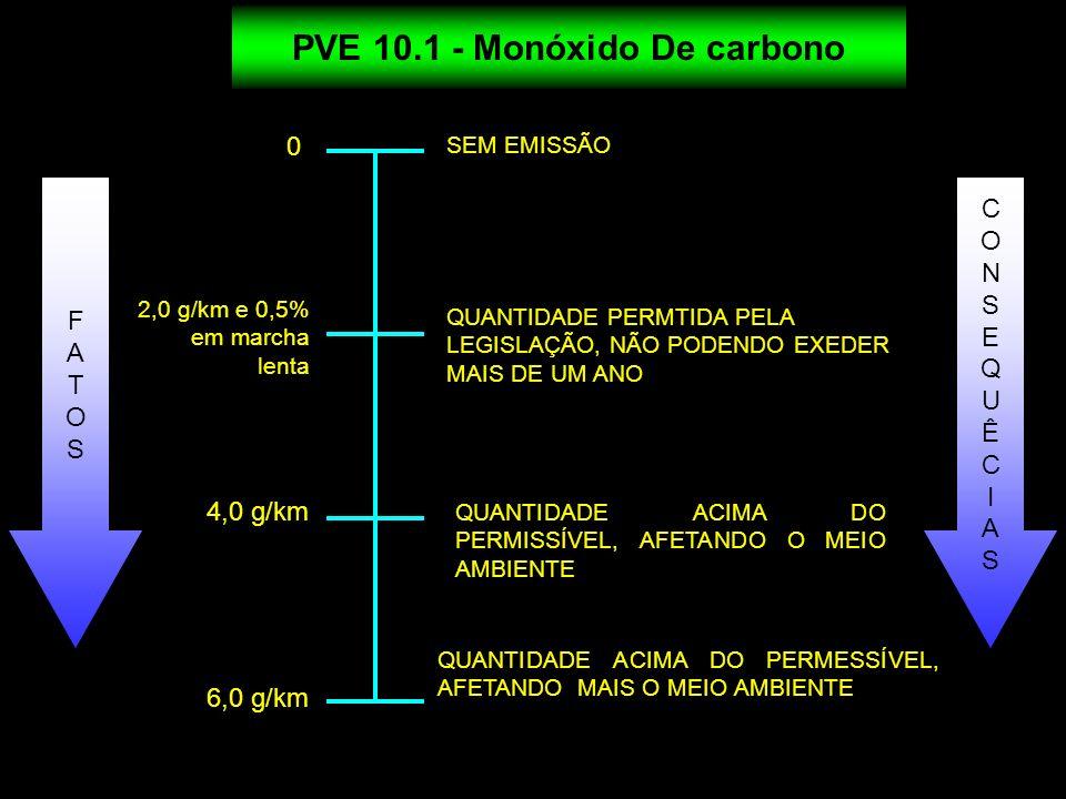PVE 10.1 - Monóxido De carbono 0 SEM EMISSÃO QUANTIDADE PERMTIDA PELA LEGISLAÇÃO, NÃO PODENDO EXEDER MAIS DE UM ANO QUANTIDADE ACIMA DO PERMISSÍVEL, A