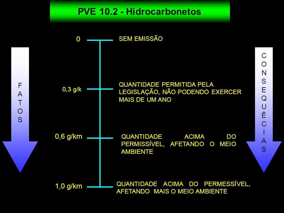 PVE 10.2 - Hidrocarbonetos 0 SEM EMISSÃO QUANTIDADE PERMITIDA PELA LEGISLAÇÃO, NÃO PODENDO EXERCER MAIS DE UM ANO QUANTIDADE ACIMA DO PERMISSÍVEL, AFE