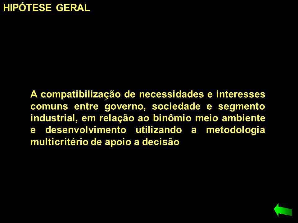 HIPÓTESE GERAL A compatibilização de necessidades e interesses comuns entre governo, sociedade e segmento industrial, em relação ao binômio meio ambie