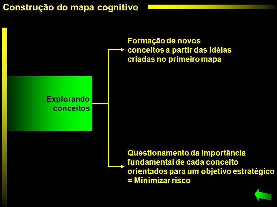 Formação de novos conceitos a partir das idéias criadas no primeiro mapa Questionamento da importância fundamental de cada conceito orientados para um