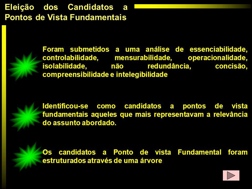 Eleição dos Candidatos a Pontos de Vista Fundamentais Foram submetidos a uma análise de essenciabilidade, controlabilidade, mensurabilidade, operacion