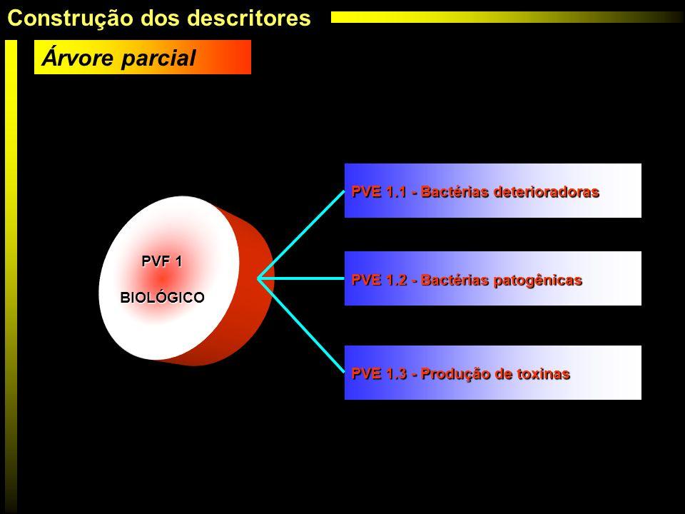PVF 1 BIOLÓGICO Árvore parcial PVF 1 BIOLÓGICO PVF 1 BIOLÓGICO PVE 1.1 - Bactérias deterioradoras PVE 1.2 - Bactérias patogênicas PVE 1.3 - Produção d