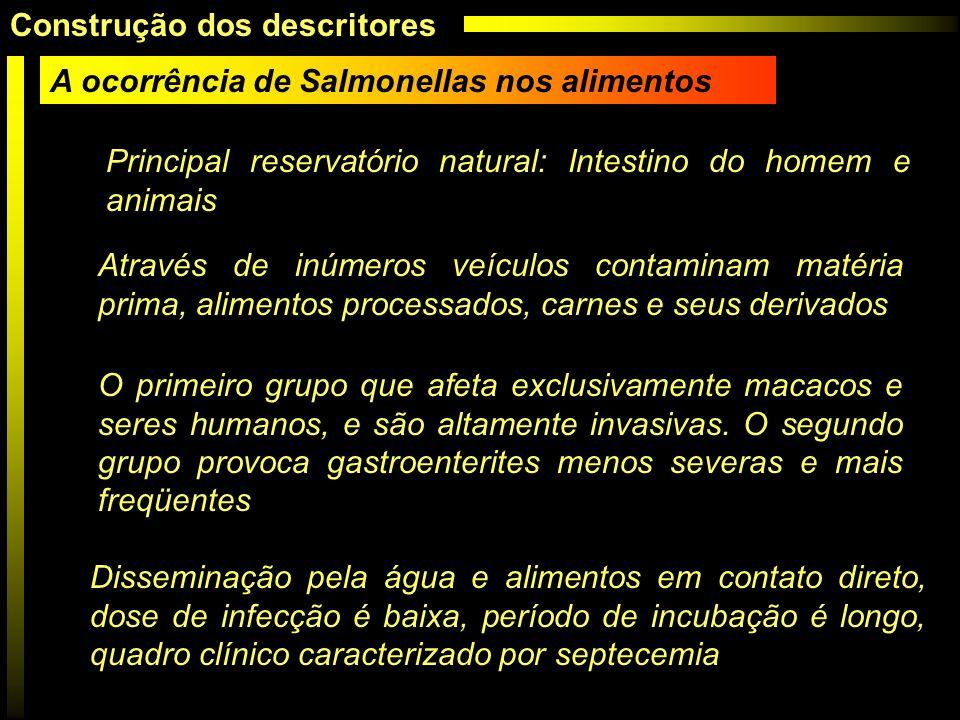 A ocorrência de Salmonellas nos alimentos Principal reservatório natural: Intestino do homem e animais Através de inúmeros veículos contaminam matéria