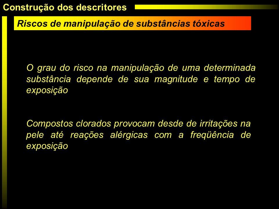Riscos de manipulação de substâncias tóxicas O grau do risco na manipulação de uma determinada substância depende de sua magnitude e tempo de exposiçã