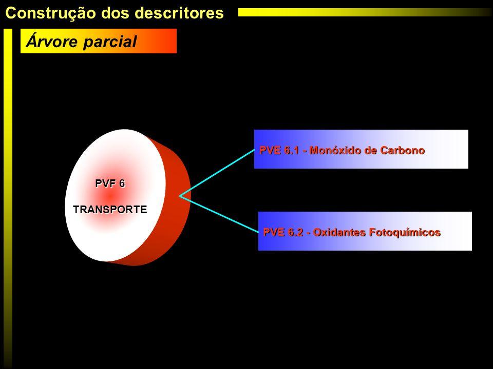 PVF 6 TRANSPORTE PVE 6.1 - Monóxido de Carbono PVE 6.2 - Oxidantes Fotoquímicos Árvore parcial Construção dos descritores