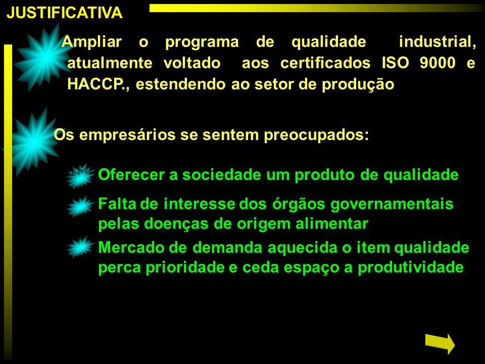 JUSTIFICATIVA Ampliar o programa de qualidade industrial, atualmente voltado aos certificados ISO 9000 e HACCP., estendendo ao setor de produção Os em