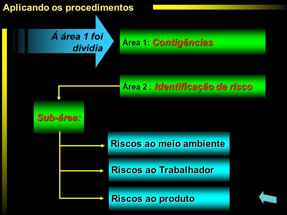 Identificação de risco Área 2 : Identificação de risco Sub-área: Á área 1 foi dividia Aplicando os procedimentos Contigências Área 1: Contigências Ris