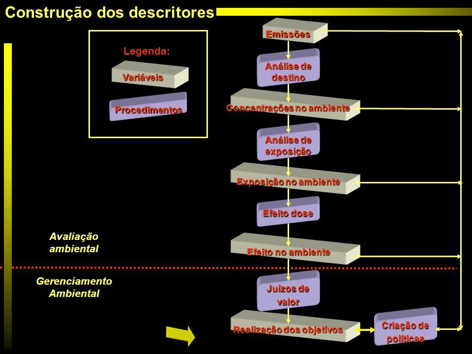 Emissões Análise de destino Concentrações no ambiente Análise de exposição Exposição no ambiente Efeito dose Efeito no ambiente Juízos de valor Realiz