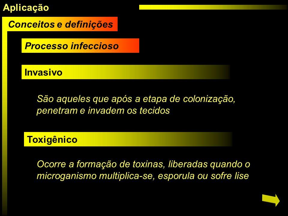 Processo infeccioso Invasivo São aqueles que após a etapa de colonização, penetram e invadem os tecidos Toxigênico Ocorre a formação de toxinas, liber