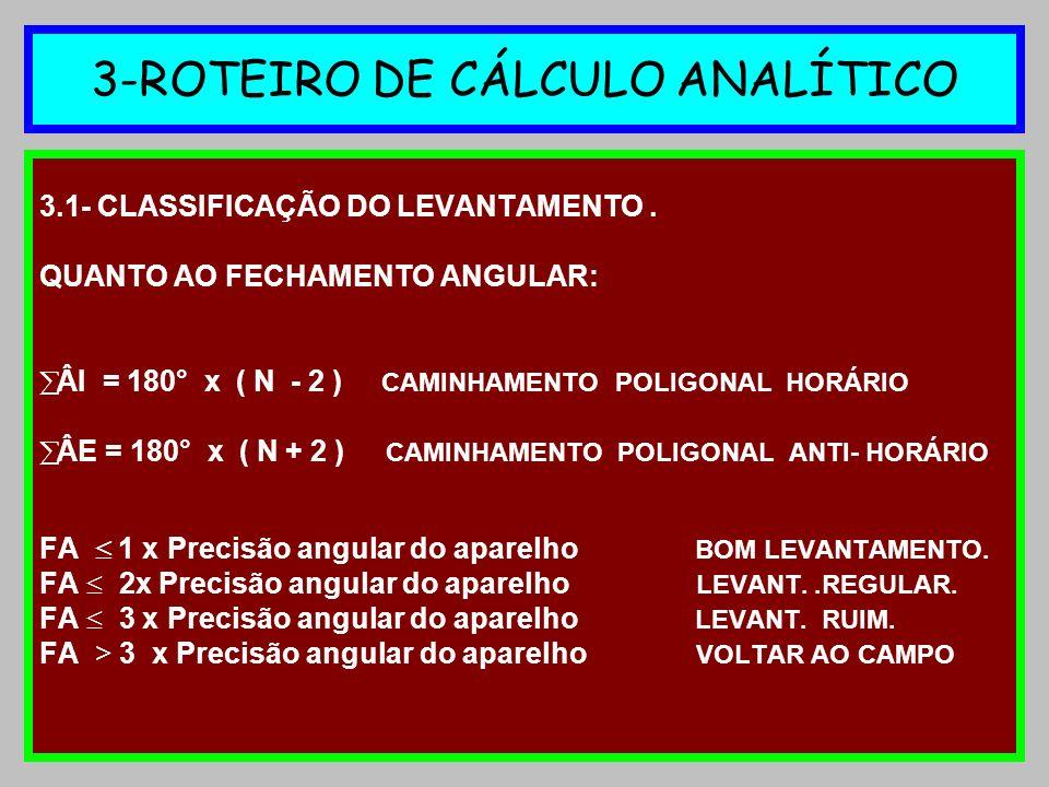 3-ROTEIRO DE CÁLCULO ANALÍTICO 3.1- CLASSIFICAÇÃO DO LEVANTAMENTO. QUANTO AO FECHAMENTO ANGULAR: ÂI = 180° x ( N - 2 ) CAMINHAMENTO POLIGONAL HORÁRIO