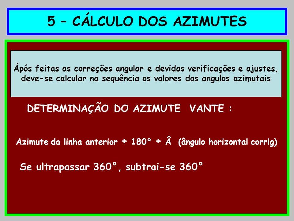 5 – CÁLCULO DOS AZIMUTES DETERMINAÇÃO DO AZIMUTE VANTE : Azimute da linha anterior + 180° + Â (ângulo horizontal corrig) Se ultrapassar 360°, subtrai-